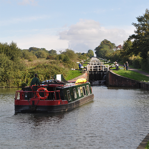 Canal boat at Devizes locks