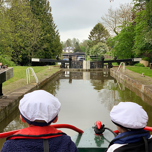 Children navigating a lock